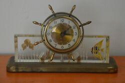 Vintage Nautical Mantle Clock, Illuminated Ocean Scene in Glass, SALEM CLOCK CO.