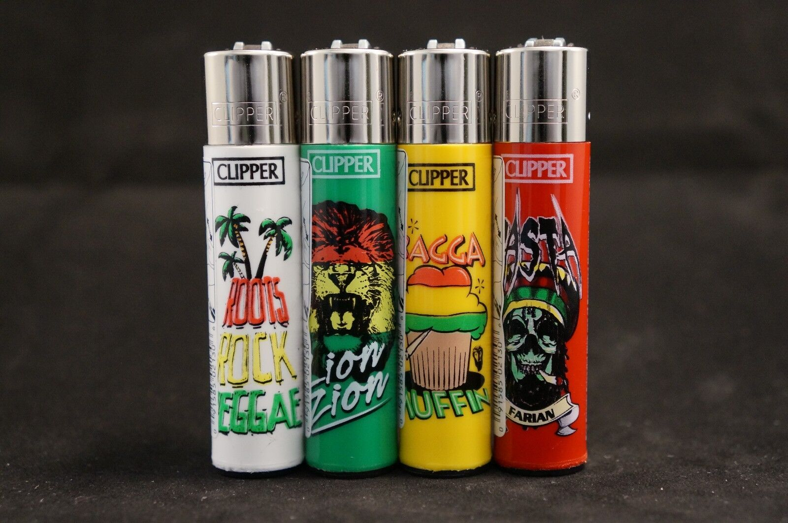 4 pcs New Refillable Clipper Full Size Lighters Rasta Design