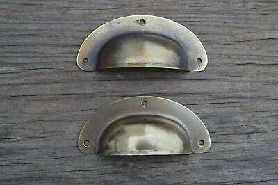 PAIR ANTIQUE PRESSED AGED STEEL DRAWER HANDLE FILING INDUSTRIAL DRAWER PULL CB11