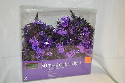 PURPLE WITCH Tinsel GARLAND 50 LIGHTS Indoor OUTDOOR Halloween Party DECOR 11'