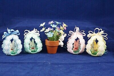 Easter Lot 4 Handmade Easter Bunny Rabbit Egg & 1 Mini Enesco Flower Pot Vintage](Mini Flower Pots Bulk)