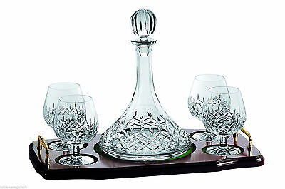GALWAY CRYSTAL LONGFORD MINI BRANDY DECANTER SET ON TRAY BNIBDIRECT FROM IRELAND