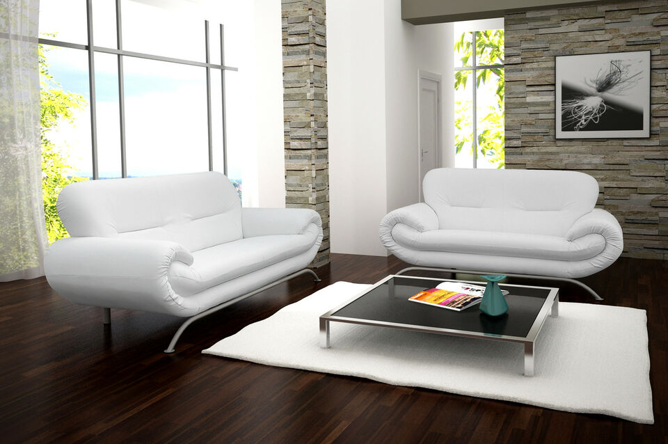 STUNNING NEW NINA 3+2 SEATER SOFA SUITE IN BRILLIANT WHITE FAUX LEATHER*BARGAIN*