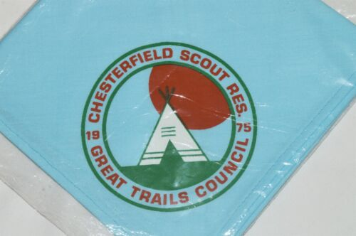 NEW 1975 CHESTERFIELD RESERVATION Boy Scout Camp ECKERCHIEF Great Trails Council