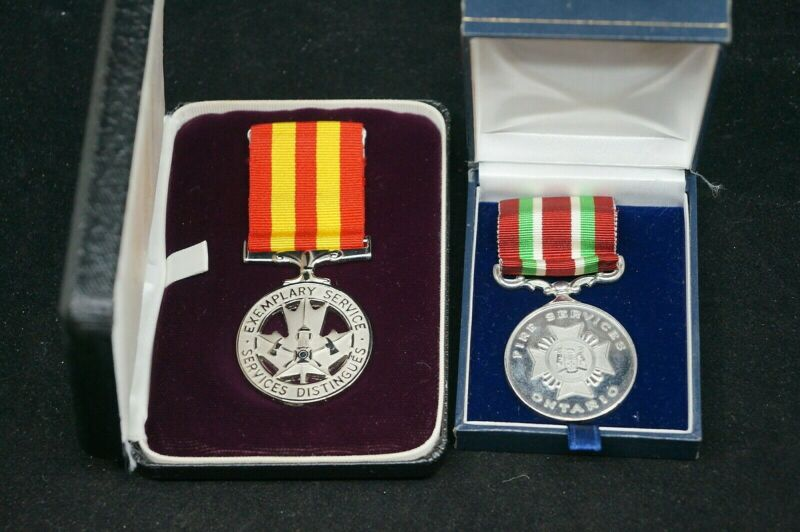 Canadian Ontario Fire Services Long Service And Exemplary Service Medal Group