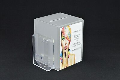 Collection / Comment / Suggestion Box with Leaflet Holder PDS9470 Frosted