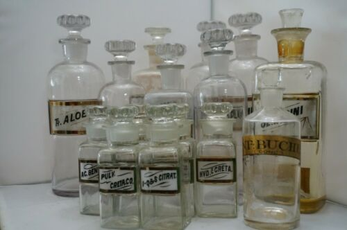 Huge Lot of 15x Antique French Apothecary Jars, Glass w/ Labels, Small & Large