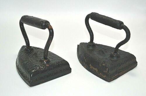 2 Antique #7 Cast Irons Sad Irons Book Ends Decorations Primitive Door Stop Flat