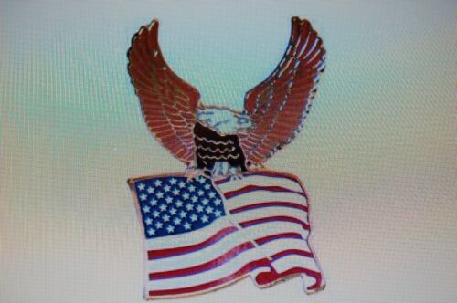 US USA American Flag With Eagle Patriotic Hat Lapel Pin