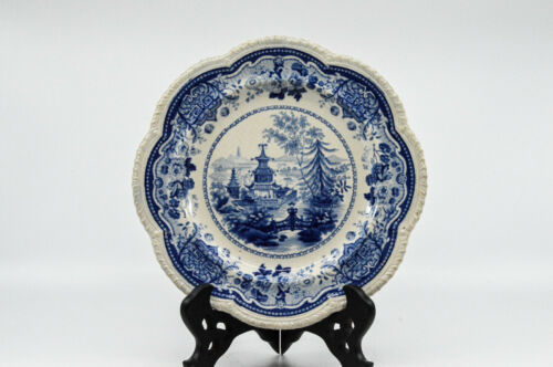 "Antique English Blue and White ""Chinese pagoda and bridge"" plate, 9 inches - 🐘"