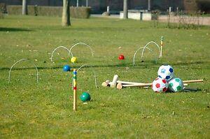 Croquet + Fußball-Croquet Set Spiel Cricket Krocket aus Holz Gartenspiel