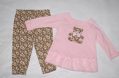 Baby Girls Outfit L/S PINK SHIRT Ruffle TEDDY BEAR Animal Spot CAMO Pants 0-3 MO - Teddy Bear Baby Outfit