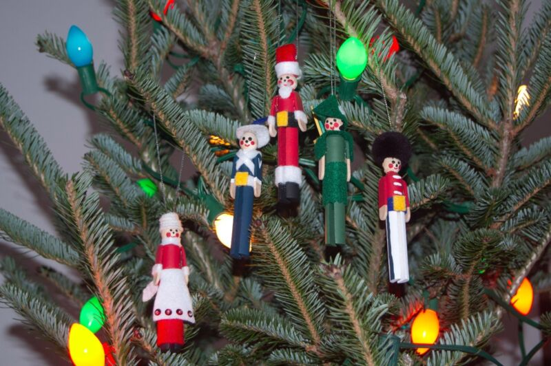 Set of Clothespin People Christmas Tree Ornaments