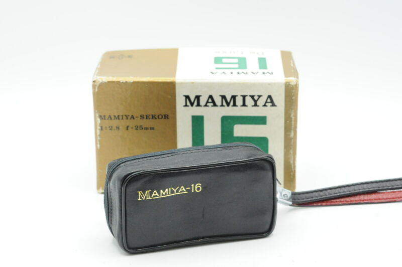 Mamiya-16 DeLuxe Sub Miniature 16mm Camera w/25mm f2.8 with Case,Box #702
