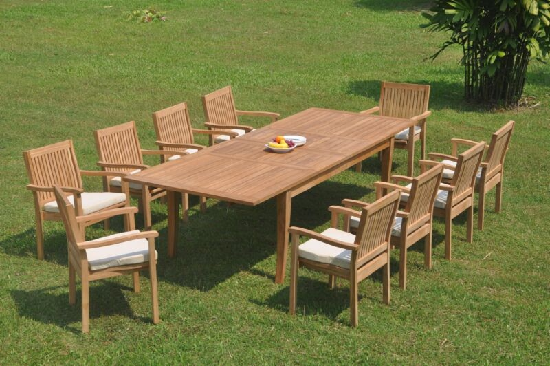 """11-pc Outdoor Teak Dining Set: 122"""" Xl Rectangle Table, 10 Stacking Chairs Leve"""
