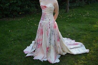 Unique Zombie Costumes (Stunning unique vampire zombie Halloween wedding dress costume size 8)
