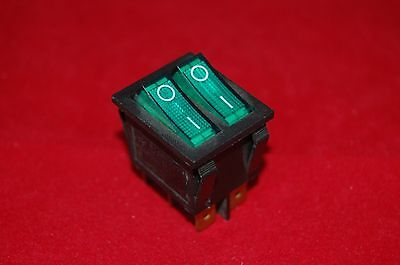2pcs Double 2 Position Boat Rocker Switch Green Light Illuminated 24v Acdc