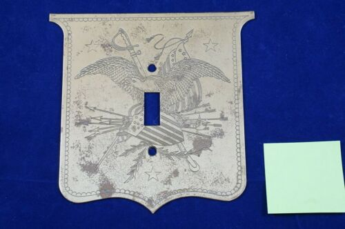 (1) Antique Patriotic American Eagle Solid Brass Light Switch Wall Plate