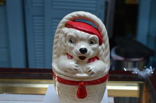 Vintage  Cookie Jar American Pottery Bisque Dog   In A Basket