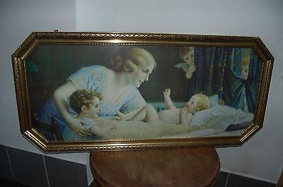 """Große Lithographie Schlafzimmerbild """" Das Nesthäkchen"""" von Fr.Laubnitz, A 288"""