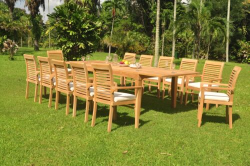 """13-piece Outdoor Teak Dining Set: 122"""" Rectangle Table, 12 Stacking Chairs Masc"""