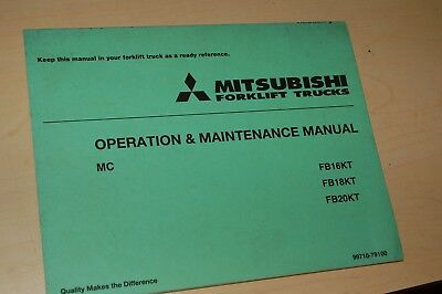 Mitsubishi Fb16kt Fb18kt Fb20kt Forklift Owner Operator Maintenance Manual Book