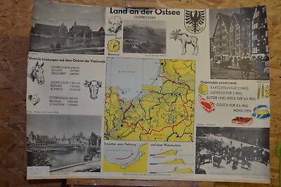 Schulwandkarte Map Baltic Sea East Prussia Haff Gdańsk Königsberg MOOSE ~100x65~