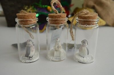 Gisela Graham Resin Penguin/Polar Bear in Glass Tube Christmas Decor(Set of 3) ()