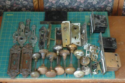 Antique Mortise Lock lot Escutcheons Door Knobs back plates art deco victorian