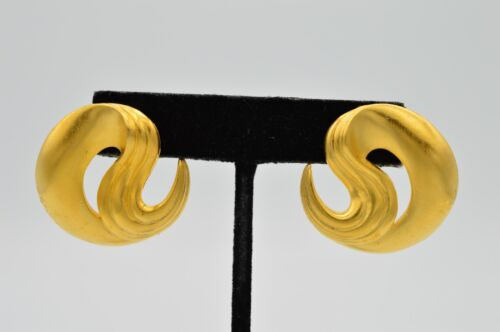 MJ Ent True Vintage Earrings Statement Chunky Yellow Brushed Gold Swirl 80s 9C