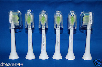 6x Philips Sonicare DiamondClean Genuine White Brush Heads HX6066