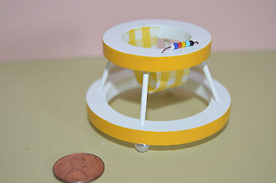 Miniature Baby Walker white w/ yellow trim in 1:12 doll scale