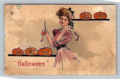 HALLOWEEN Vintage Postcard Victorian Lady Carving Jack-O-Lantern's -Damage