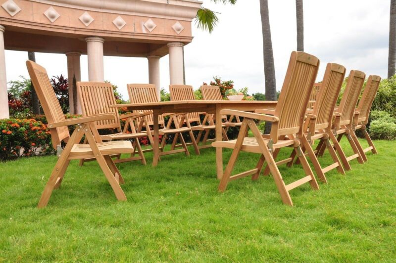 "11-piece Outdoor Teak Dining Set: 117"" Rectangle Table, 10 Reclining Chairs Mar"