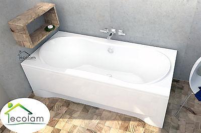 Badewanne Rechteck Wanne  170 x 80 cm Schürze Ab/Überlauf Ablauf Mitte Füße L