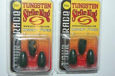 2 packs strike king tungsten weights 3//4oz green pumpkin sapphire tour grade