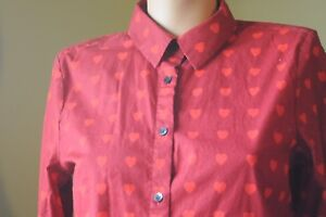 Red Cotton Button Down Shirt with Heart Pattern XS