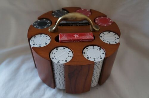 WOODEN CAROUSAL WITH DECKS OF CARDS AND POKER CHIPS