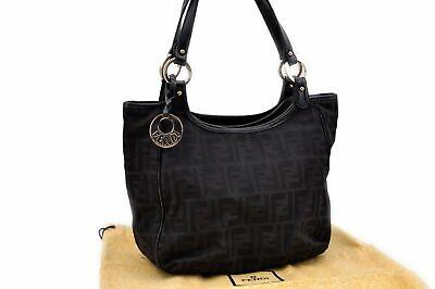 Authentic FENDI Zucca Hand Bag Canvas Leather Black 89751