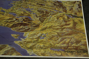 3D Aerial Panoramic Map of North West Highlands No26 Unusual Gift Idea