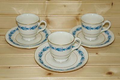 "Castleton Classic Blue (3) Demitasse Cups, 2 3/8"" & (3) Saucers 5"""