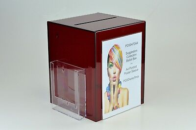 Suggestion / Collection Box with Leaflet + Poster Holder PDS9470A4 Red Tint 5mm
