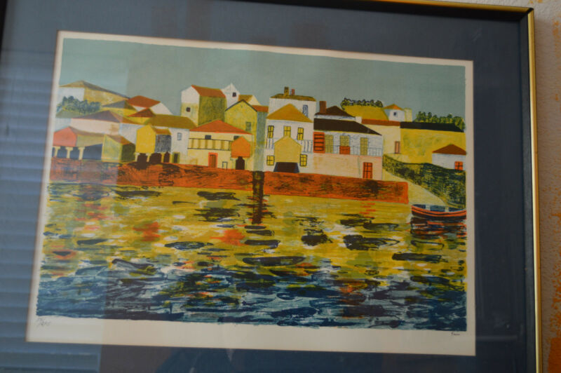 Ferna Print Signed and Number 84/275 Houses and Harbor Framed 18 1/2 x 25 in