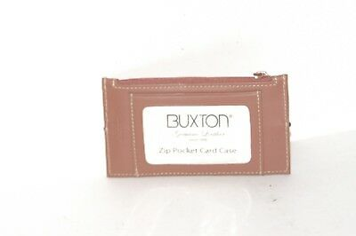 Buxton Leather Brown Business Envelope Card Case 5 X 3 Holder Work Organize