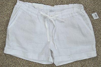 Old Navy new Women's White Linen Blend Drawstring Waist Shorts sz 6 NWT