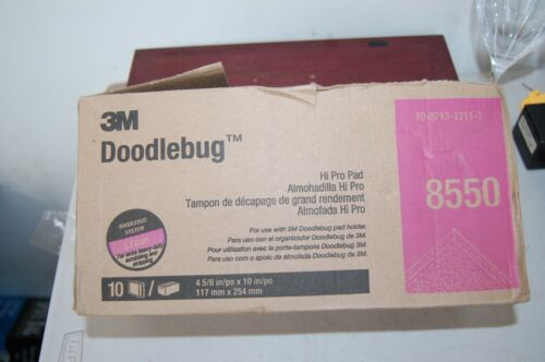 """BOX OF 10 3M 8550 4 5/8"""" X 10"""" STRIP PAD FOR DOODLEBUG HI PRO PAD FLOOR CLEANING"""