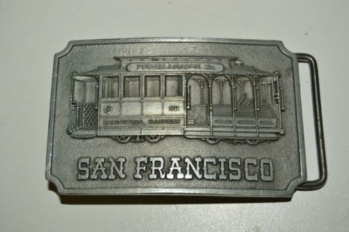 Vintage 1975 San Francisco CA Cable Car Pewter Belt Buckle Powell & Mason ST NM