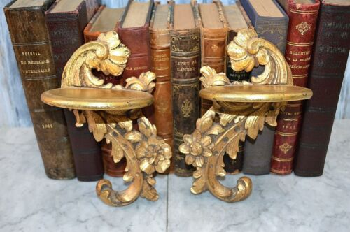 Antique Pair Italian Gilded Wood Curio Sconce Shelves Acanthus Floral Brackets