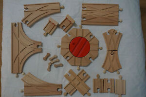 New Wooden Switch Cross Turntable Buffer Track Expansion Set Thomas Train Brio