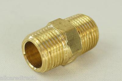 """New Brass Hex Nipple Fitting 3/8""""M NPT x 3/8""""M NPT - Fuel Oil Water Air Fitting"""